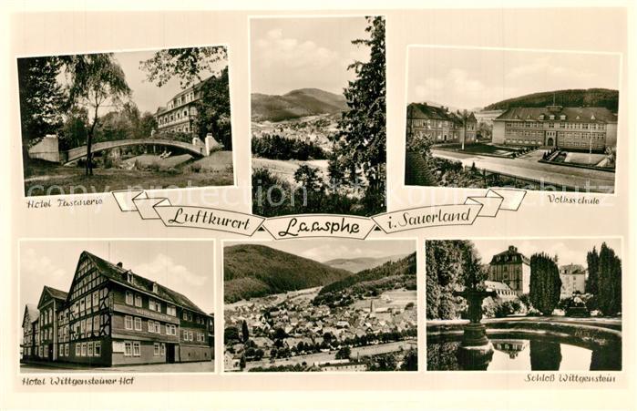 AK / Ansichtskarte Laasphe_Bad Hotel Fasanerie Volksschule Schloss Wittgenstein Hotel Wittgensteiner Hof Laasphe_Bad 0