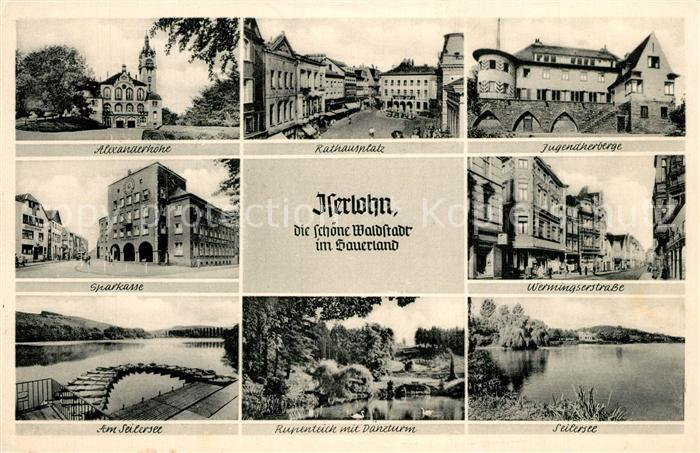 AK / Ansichtskarte Iserlohn Alexanderhoehe Jugendherberge Rathausplatz Seilersee  Iserlohn 0