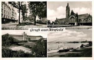 AK / Ansichtskarte Krefeld Hauptbahnhof Hafen Hauptpostamt Krefeld