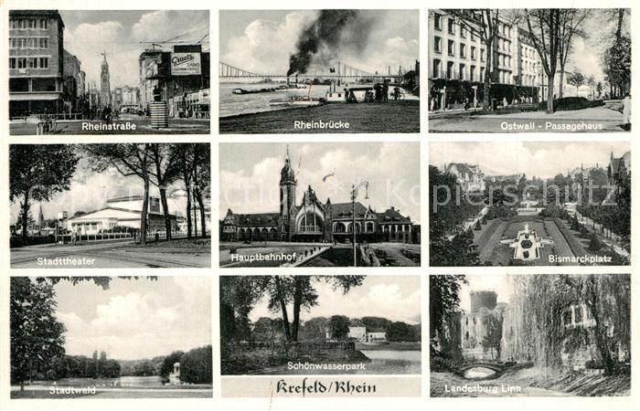 AK / Ansichtskarte Krefeld Rheinstrasse Rheinbruecke Ostwall Passagehaus Stadttheater  Krefeld 0