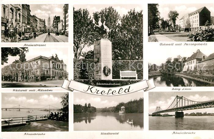AK / Ansichtskarte Krefeld Rheinstrasse Ostwall Westwall Museum Burg Husarendenkmal Krefeld 0