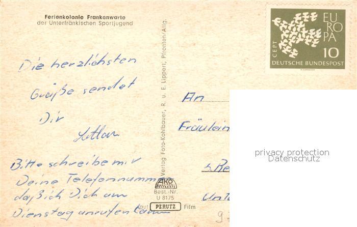 AK / Ansichtskarte Wuerzburg Ferienkolonie Frankenwarte Unterfraenkische Sportjugend Wuerzburg 1