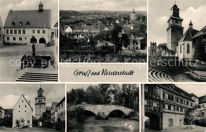 AK / Ansichtskarte Neuenstadt_Kocher Rathaus Freilichtbuehne Marktplatz Franzosenbruecke Schloss Neuenstadt_Kocher 0