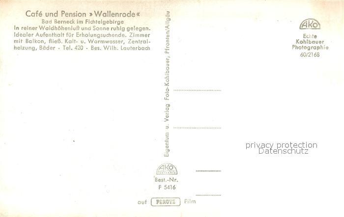 AK / Ansichtskarte Bad_Berneck Cafe Pension Wallenrode Bad_Berneck 1