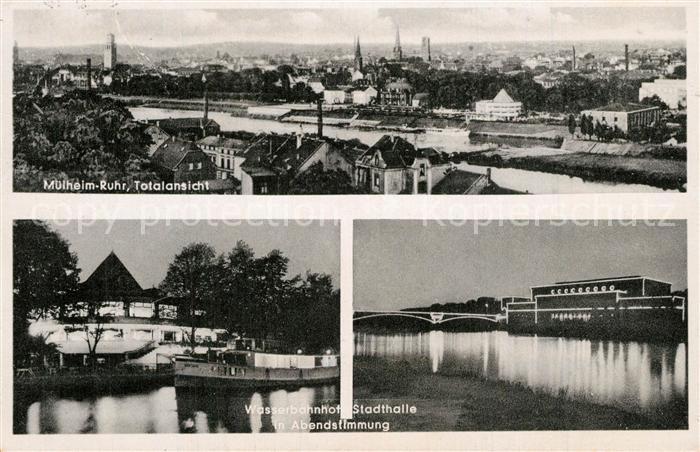 AK / Ansichtskarte Muelheim_Ruhr Wasserbahnhof Stadthalle Abendstimmung Muelheim Ruhr 0