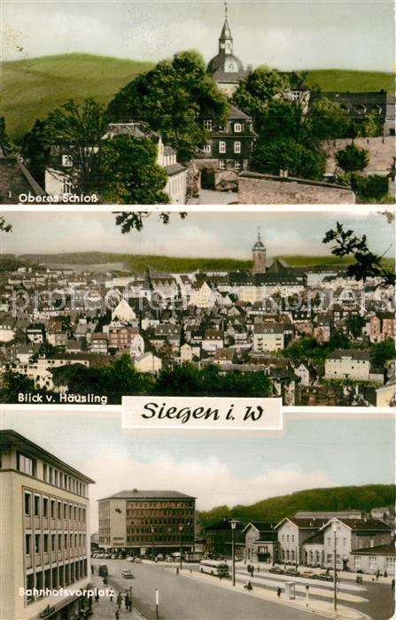 AK / Ansichtskarte Siegen_Westfalen Oberes Schloss Panorama Bahnhofsvorplatz Siegen_Westfalen 0