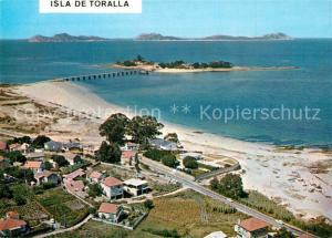 Canido Playa del Bao e Isla de Toralla con las Cies al fondo Vista aerea