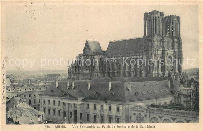 Reims_Champagne_Ardenne Palais de Justice et la cathedrale Reims_Champagne_Ardenne 0