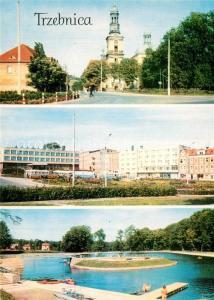 AK / Ansichtskarte Trzebnica_Trebnitz_Schlesien Basilika Altstadt Freibad Trzebnica_Trebnitz