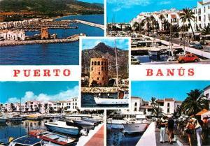 AK / Ansichtskarte Puerto_Banus Jachthafen Promenade Turm Fliegeraufnahme