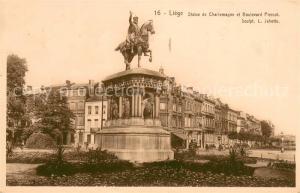 AK / Ansichtskarte Liege_Luettich Statue de Charlemagne et Boulevard Piercot Liege Luettich