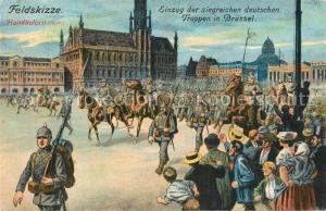 AK / Ansichtskarte Bruessel_Bruxelles Einzug der siegreichen deutschen Truppen 1. Weltkrieg 1914 Feldskizze Handkoloriert Kuenstlerkarte Bruessel_Bruxelles