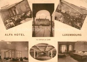 AK / Ansichtskarte Luxembourg_Luxemburg Alfa Hotel Restaurant Hall Brasserie Appartement Garage Luxembourg Luxemburg