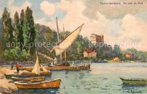 AK / Ansichtskarte Thonon les Bains Un coin du port Peinture Kuenstlerkarte Thonon les Bains