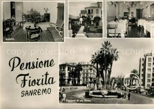 AK / Ansichtskarte Sanremo Pensione Fiorita Salotto La Facclata Fontana di via Roma Sanremo