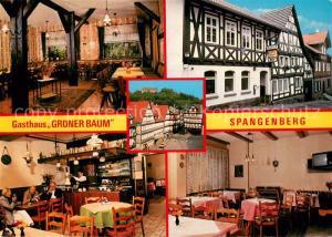 AK / Ansichtskarte Spangenberg_Hessen Gasthaus Gruener Baum Gastraeume Spangenberg Hessen