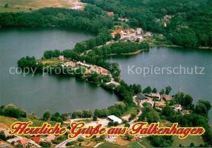 AK / Ansichtskarte Falkenhagen_Mark Fliegeraufnahme mit Burgsee und Schweizer Haus Falkenhagen Mark