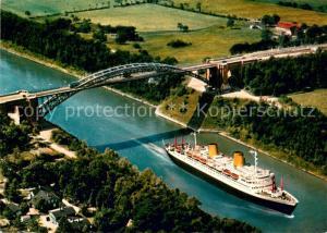 AK / Ansichtskarte Gruenenthal_Albersdorf Nord Ostsee Kanal MS Europa unter der Hochbruecke Gruententhal Fliegeraufnahme Gruenenthal Albersdorf