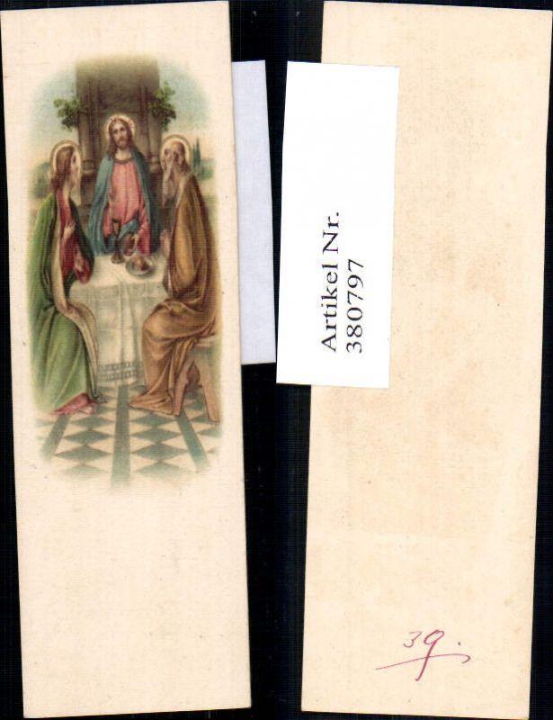 Andachtsbild Heiligenbildchen Jesus m. Kelch Brot Jünger