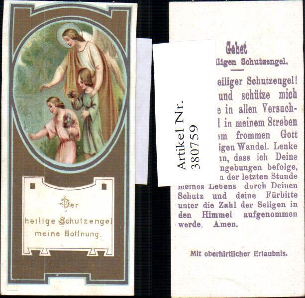 Andachtsbild Heiligenbildchen Schutzengel m. Kinder Gebet