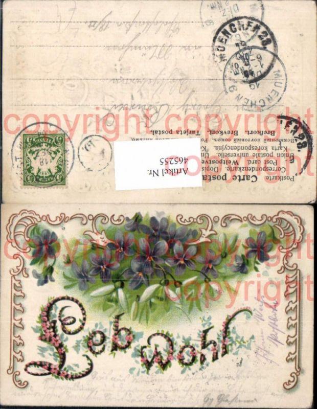 Präge Litho Blumen Veilchen Schneeglöckchen Leh wohl