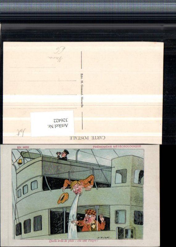 Künstler AK S. Tick Humor Schiff Mann übergibt sich Seekrank