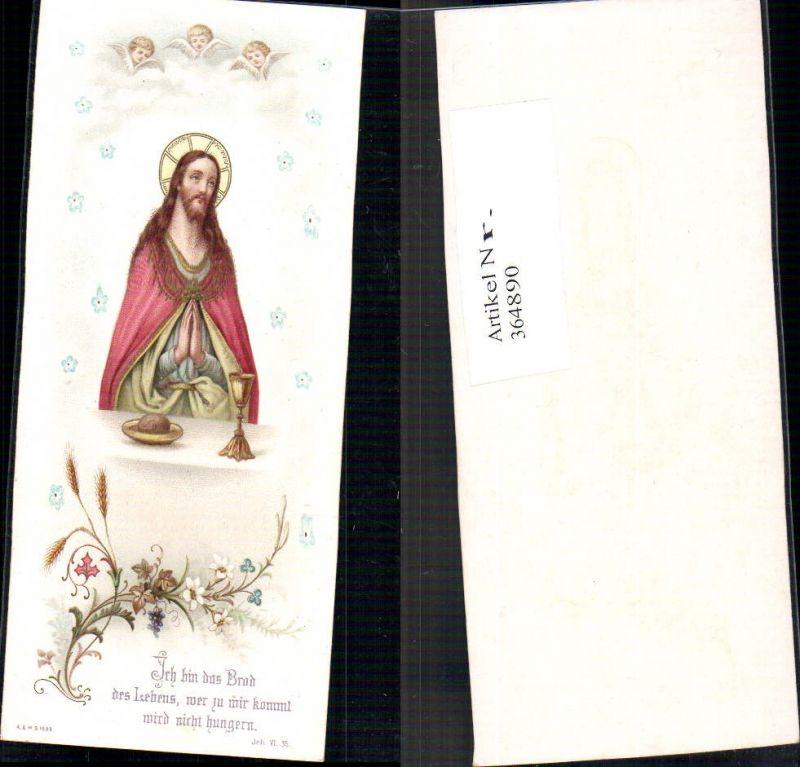 Andachtsbild Heiligenbildchen Jesus b. Gebet Engelsköpfe