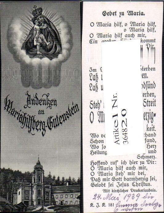 Andachtsbild Heiligenbildchen Gnadenmutter Mariahilfberg Gutenstein Gebet