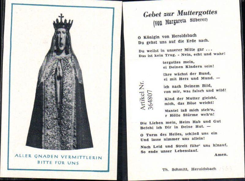 Andachtsbild Heiligenbildchen Gnadenmutter Gebet Muttergottes