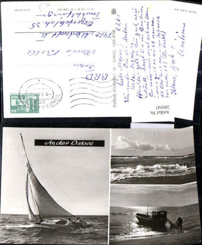 Mehrbild Ak Schiff Segelschiff Boot An der Ostsee Fischer
