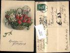 Pfingsten Weidenkorb m. Blumen Tulpen 1929
