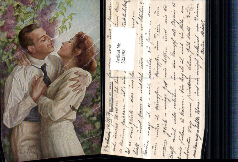 Künstler AK A. Von Riesen Im Frühling des Lebens Liebe Paar Umarmung