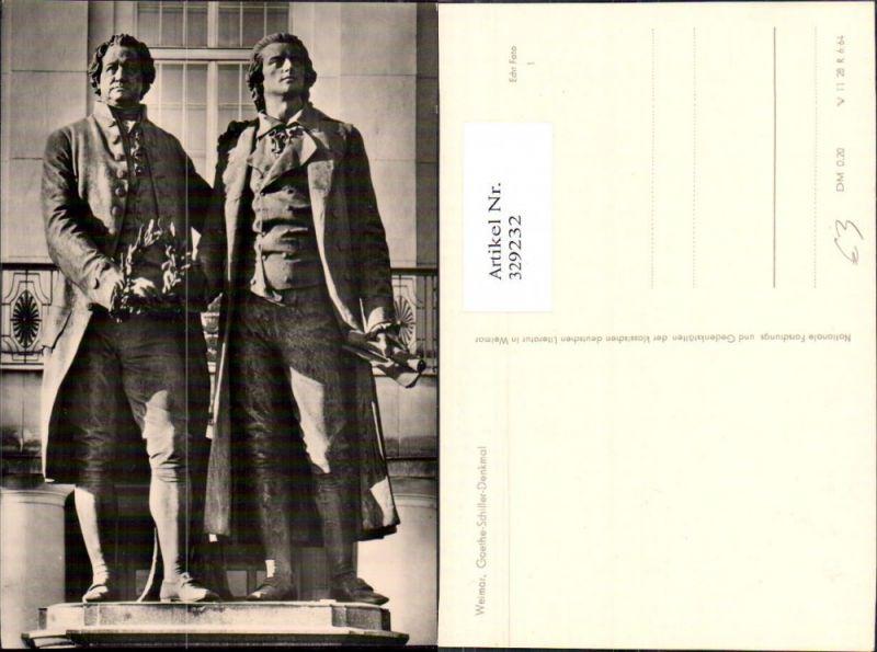 Foto Ak Goethe u. Schiller Denkmal Kunst