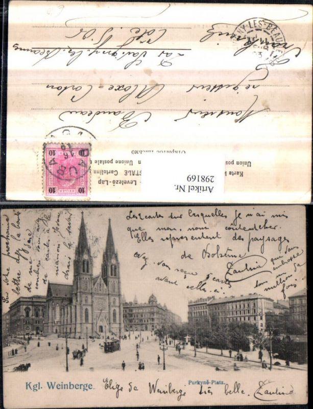 Königliche Weinberge Vinohrady Purkyne-Platz Kirche Straßenansicht