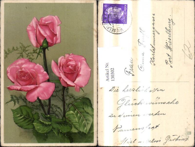 ak strauss rosa farbener rosen nr 6558324 oldthing. Black Bedroom Furniture Sets. Home Design Ideas