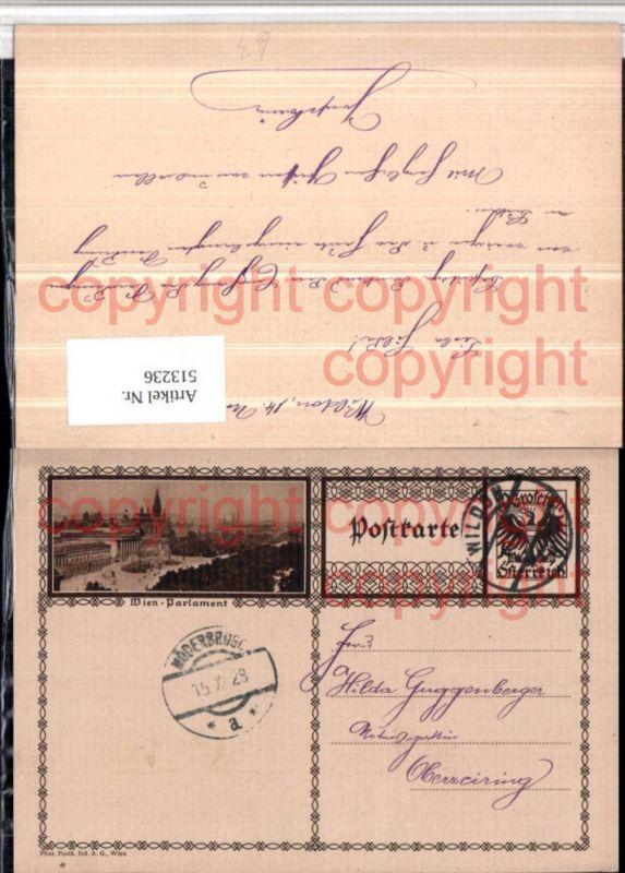 Ganzsache Stempel Wildon 1928 Wien Parlament