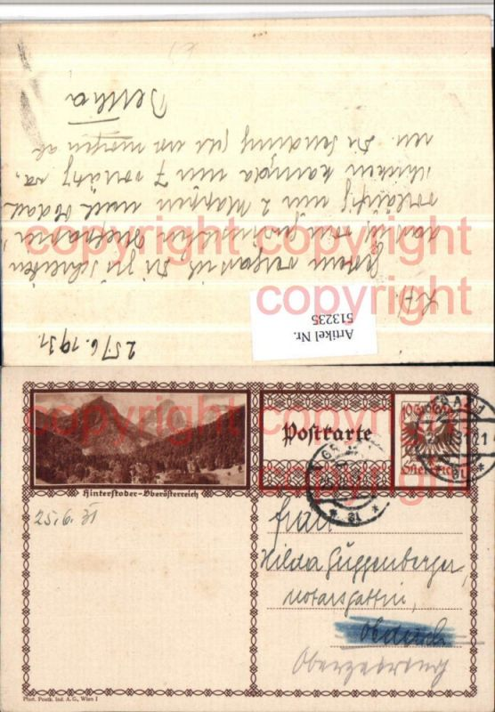 Ganzsache Stempel Graz 1931 Hinterstoder Bergkulisse