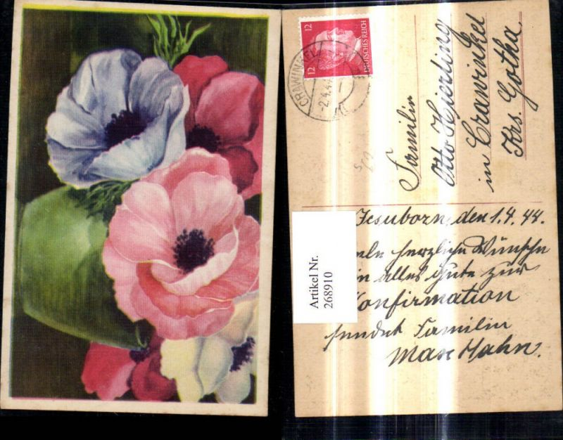 Künstler Ak Blumen Mohnblumen Rot Blau Rosa Weiß Blüten Klatschmohn Stemp