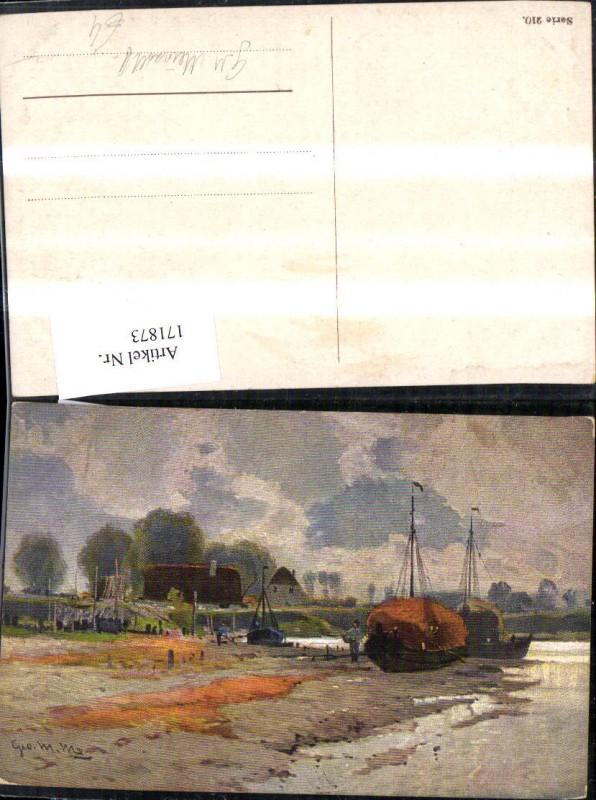 Künstler Ak Hafen Landschaft sign G. M. Meinhold