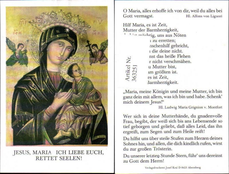 Andachtsbild Heiligenbildchen Jesus Maria Gebet