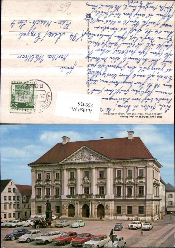 Lauingen an d. Donau Rathaus m. Alb. Magnus-Denkmal VW-Käfer