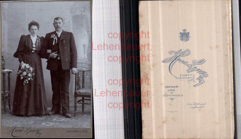 CDV Kabinettfoto Atelier Hans Lenz Urfahr Brautpaar Braut Hochzeit