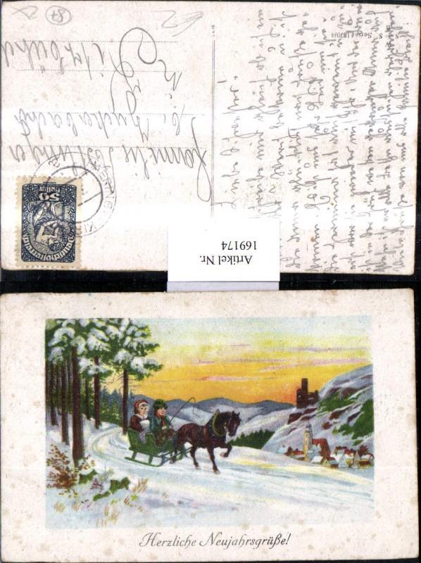 Neujahr Schneelandschaft Pferdeschlitten Schlitten Pferd Dorf Wald