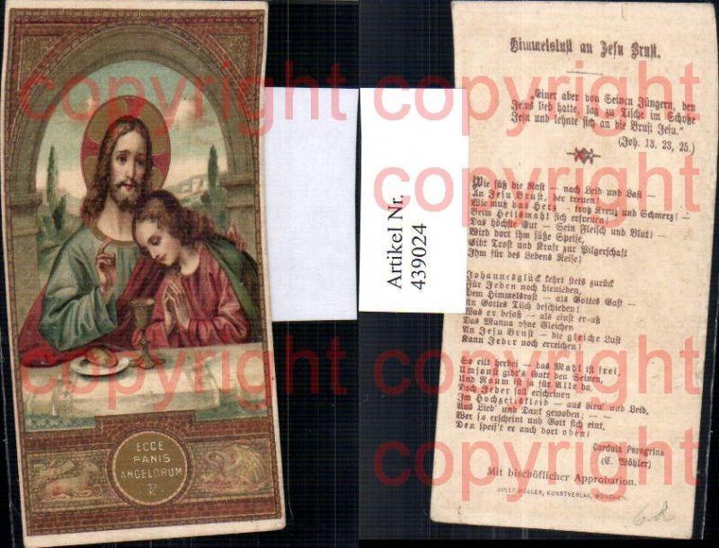 Heiligenbildchen Andachtsbild Jesus m. Jünger Kelch Brot Heiligenschein