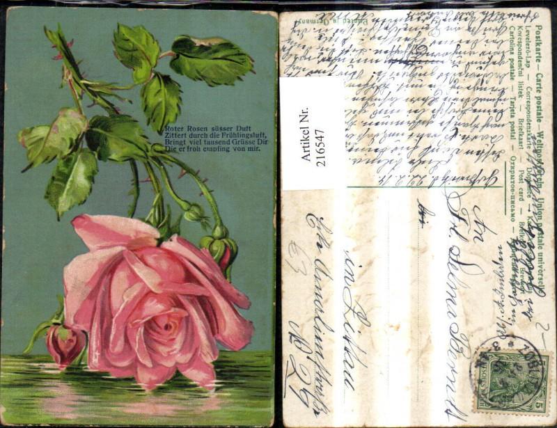 Präge Ak Rose Rosa Rose Blume Spruch Text