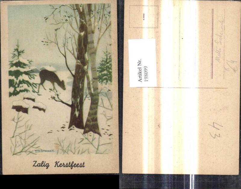 Künstler Ak Willy Schermele Reh Wild i. Winterwald Wald Landschaft