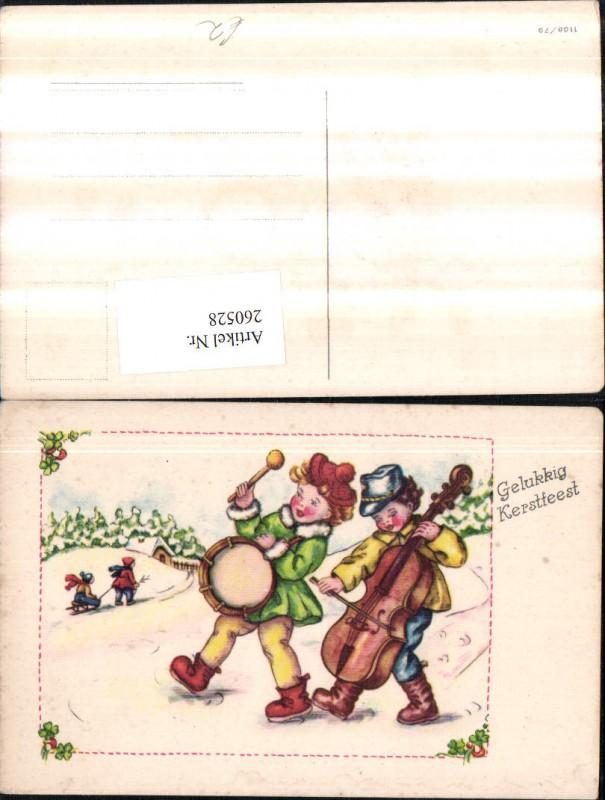 Weihnachtsessen Celle.Trommel Cello Schlitten Weihnachten 260528 Künstler Ak Weihnachten