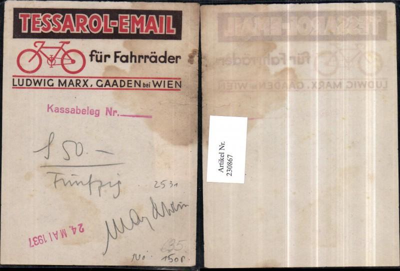 Reklame Werbung Tessarol-Email Fahrrad Ludwig Marx Gaaden b. Wien