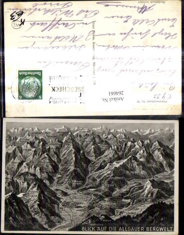 Künstler Ak Eugen Felle Panoramakarte 32 Blick a. d. Allgäuer Bergwelt Ob