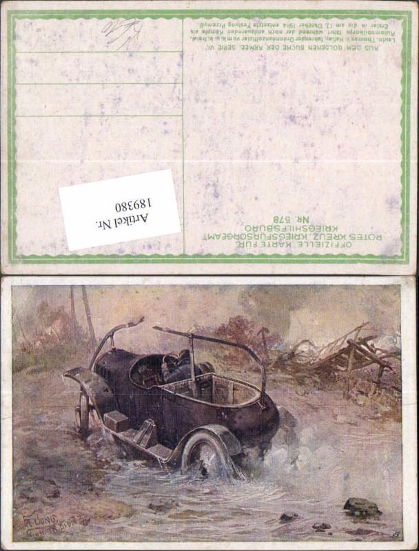 Kriegsfürsorge 578 Künstler AK Fr. Jung Auto Oldtimer Ordonnanoffizier